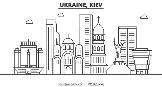 Ukraine, Kiev architecture line skyline illustration. Linear vector cityscape with famous landmarks, city sights, design icons. Landscape wtih editable strokes