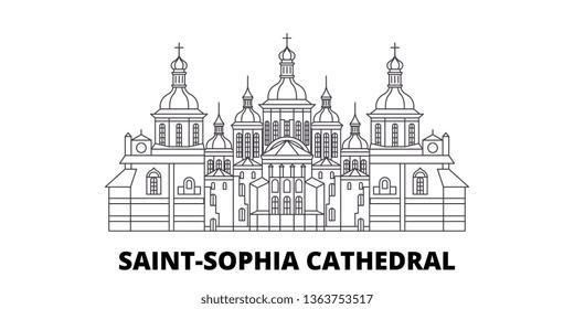 Ukraine, Kiev, Saint Sophia Cathedral line travel skyline set. Ukraine, Kiev, Saint Sophia Cathedral outline city vector illustration, symbol, travel sights, landmarks.