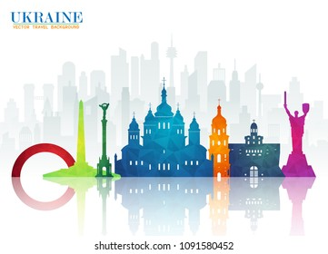 Ukraine Landmark Global Travel And Journey paper background. Vector Design Template.used for your advertisement, book, banner, template, travel business or presentation.