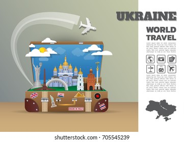 Ukraine Landmark Global Travel And Journey Infographic luggage.3D Design Vector Template.vector/illustration. can be used for your business, advertisement or artwork.