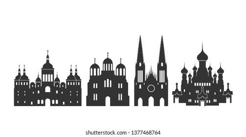 Ukraine logo. Isolated Ukraine architecture on white background