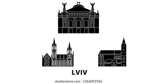 Ukraine, Lviv flat travel skyline set. Ukraine, Lviv black city vector panorama, illustration, travel sights, landmarks, streets.