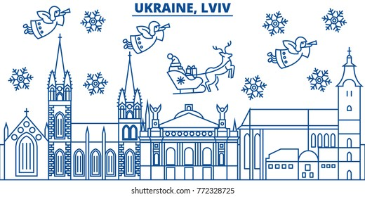 Ukraine, Lviv winter city skyline. Merry Christmas, Happy New Year decorated banner with Santa Claus.Winter greeting line card.Flat, outline vector.Linear christmas snow illustration