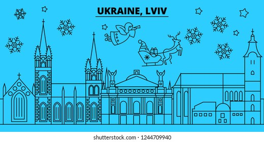 Ukraine, Lviv winter holidays skyline. Merry Christmas, Happy New Year decorated banner with Santa Claus.Ukraine, Lviv linear christmas city vector flat illustration