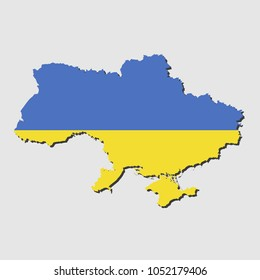 Ukraine Map Flag