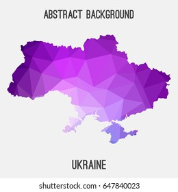 Ukraine map in geometric polygonal,mosaic style in purple shades.Abstract tessellation,modern design background,low poly. Vector illustration.