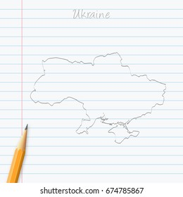 Ukraine map hand drawn with pencil on a paper sheet. Vector illustration, easy to edit.