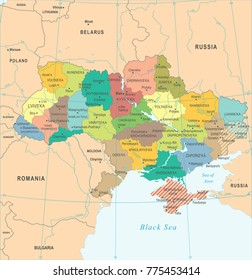 Ukraine Map - High Detailed Vector Illustration