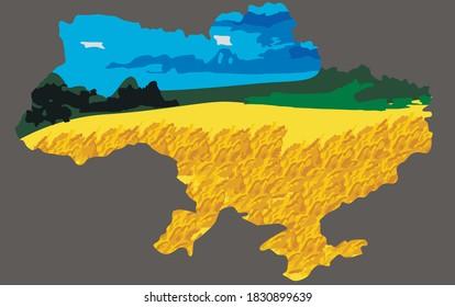 Ukraine map outline / Ukrainian flag colors / nature scenery