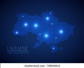 Ukraine map page symbol for your web site design Ukraine map logo, app, UI. Wire frame 3D mesh polygonal network line, design sphere, dot and structure.