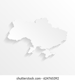 Ukraine Map with shadow. Cut paper isolated on a white background. Vector illustration.