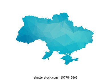 Ukraine map vector illustration in polygonal style,Low poly design on white background