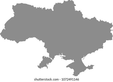 Ukraine map vector outline illustration gray background. Highly detailed accurate map of Ukraine prepared by a map expert.