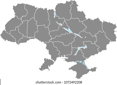 Ukraine map vector outline illustration with borders of states or provinces in gray background. Highly detailed accurate map of Ukraine prepared by a map expert.