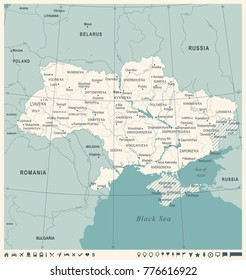 Ukraine Map -Vintage High Detailed Vector Illustration