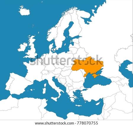 Ukraine On Map Of Europe.Ukraine On Map Europe Vector Illustration Stock Vector Royalty Free