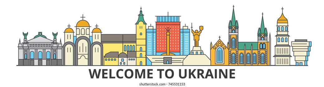 Ukraine outline skyline, ukranian flat thin line icons, landmarks, illustrations. Ukraine cityscape, ukranian travel city vector banner. Urban silhouette