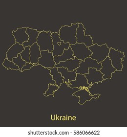 Ukraine outline,stroke of map with administrative division. Vector illustration