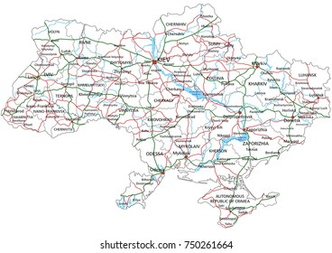 Ukraine road and highway map. Vector illustration.