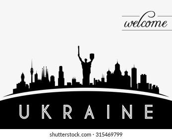 Ukraine skyline silhouette, black and white design, vector illustration