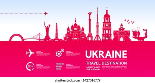 Ukraine travel destination grand vector illustration.