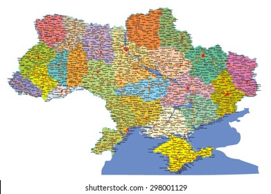 Ukraine vector road map with regions and Crimea in Ukrainian language