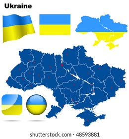 Ukraine vector set. Detailed country shape with region borders, flags and icons isolated on white background.