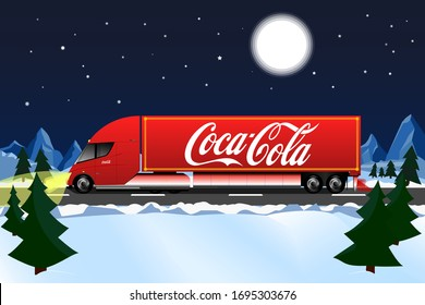 Ukraine, Vinnytsya - April 4, 2020: Tesla Semi electric truck delivers Coca-Cola on Christmas. Rides on the highway in winter, at night with a full moon in the mountains.