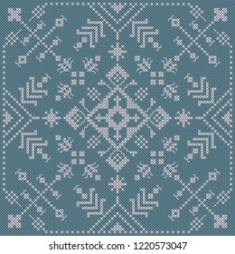 Ukrainian embroidery cross stitch. Vector abstract ornament. EPs 10. Ethnic floral pattern. Niddlework background.