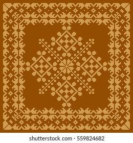 Ukrainian embroidery, cross stitch vector pattern.