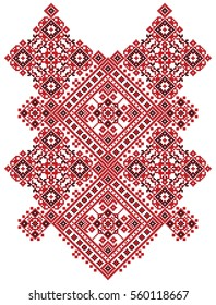 Ukrainian ethnic ornament-pixel pattern like old handmade folk art knitted embroidery