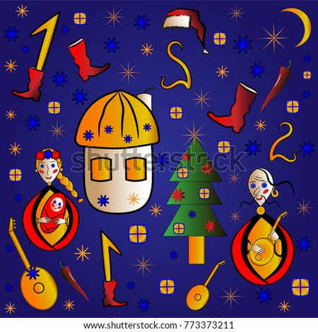 ukrainian new year christmas greeting card design for kids