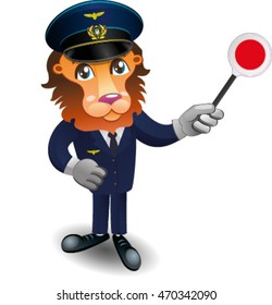 Ukrainian railroad cartoon conductor
