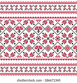 Ukrainian, Slavic, Belarusian folk knitted red emboidery pattern or print - Vyshyvanka