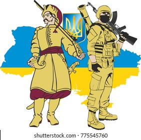 Ukrainian soldiers - Zaporozhye Cossack and a modern soldier against the silhouette of Ukraine