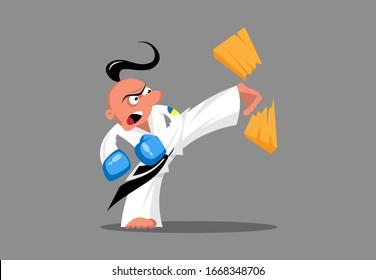 Ukrainischer Taekwondo-Kämpfer schlägt Brett mit einem Kick