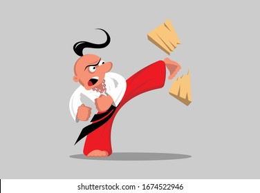 Taekwondo-Kämpfer aus der Ukraine zerschlagen ein Brett mit seinem Fuß