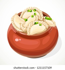 Ukrainian traditional dumplings in a clay pot isolated on a white background