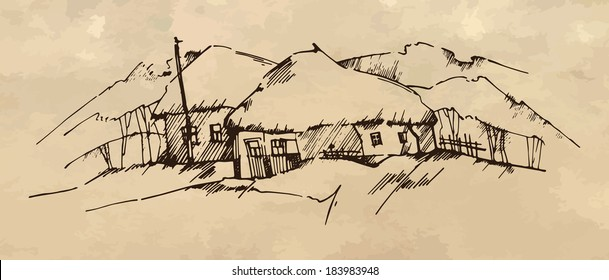 Ukrainian Village Illustration. Graphic sketch that represents Ukrainian village with its traditional ethnic houses.