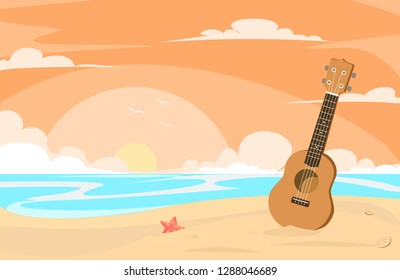 ukulele in the beach at the evening flat design