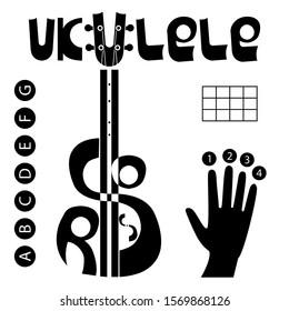 Ukulele chords logo set. Hand, finger numbers, table and letters for chords. Lettering