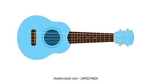 ukulele cute blue pastel isolated on white, small ukelele blue soft color for flat icon, realistic ukelele for classical music play, ukulele classic retro style in holiday summer concept, small guitar