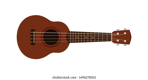 ukulele cute isolated on white, small ukelele dark brown color for flat icon, realistic ukelele for classical music play, ukulele classic retro style in holiday summer concept, small guitar