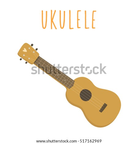 Ukulele Hawaiian Guitar Isolated On White Vector de stock (libre de ...
