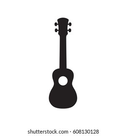 Ukulele Hawaiian Guitar In Simple Black Style Isolated On White Background. Created For Mobile, Web, Decor, Print Products, Application