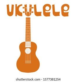 Ukulele Hawaiian guitar. String musical instrument. Simple vector illustration.