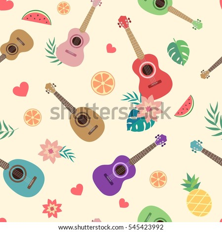 Ukulele Hawaiian Guitar Tropical Flowers Palm Vector de stock (libre ...