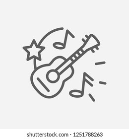 Ukulele icon line symbol. Isolated vector illustration of  icon sign concept for your web site mobile app logo UI design.