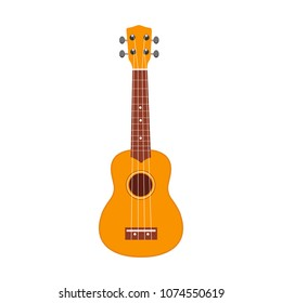 Ukulele icon. Vector illustration of yellow and brown hawaiian guitar isolated on a white background. Ukulele, Hawaii national musical instrument.