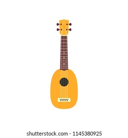 Ukulele isolated on white background. Vector musical instrument